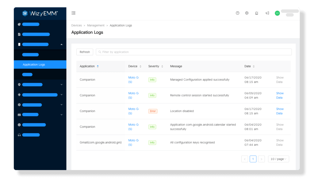 Android App management: Applications logs - Feedback channel