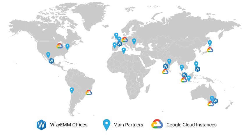 WizyEMM Data center location Map